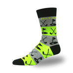 Men's Proseries Clubhouse Crew Sock // Crossed Clubs (Gray + Yellow)