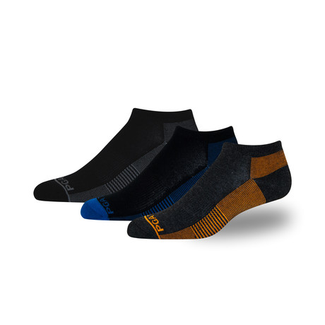Men's Proseries Low-Rider Moisture Wicking Athletic Sock // Black + Blue + Orange // 3 Pack