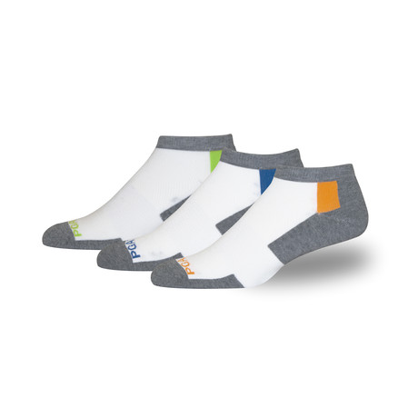 Men's Proseries Low-Rider Moisture Wicking Athletic Sock // White + Gray // 3 Pack