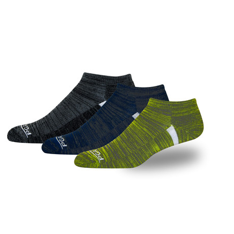 Men's Proseries Low-Rider Moisture Wicking Athletic Sock // Black + Blue + Green // 3 Pack
