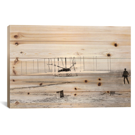 "1903 Wright Brothers' Plane Taking Off At Kitty Hawk // Vintage Images (18""W x 26""H x 1.5""D)"