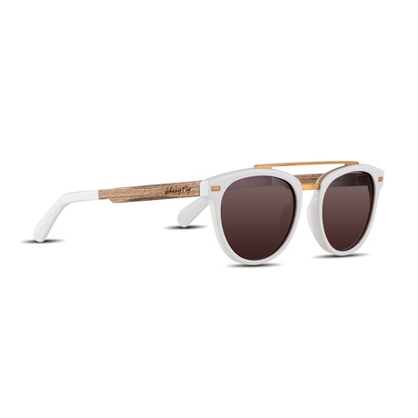 Unisex // Polarized // Captain Sunglasses // Off White + Brown Gradient
