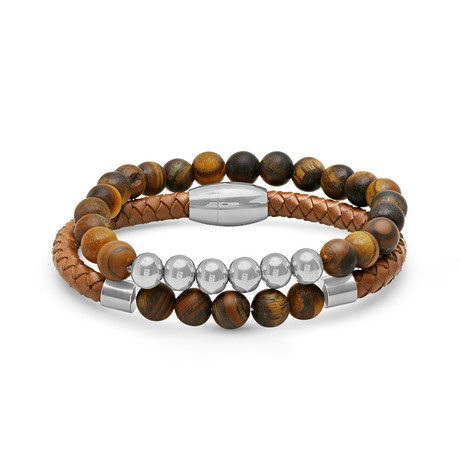 Leather + Beaded Bracelet // Set of 2 // Brown + Silver