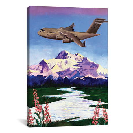"C-17 Plane Over Denali (18""W x 12""H x 0.75""D)"