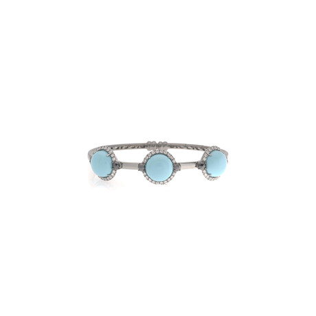 Crivelli 18k White Gold Diamond + Turquoise Bracelet