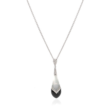 Crivelli 18k White Gold Diamond + Onyx Pendant Necklace