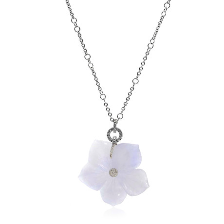 Crivelli 18k White Gold Diamond + Lavender Jade Flower Necklace