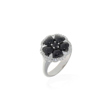 Crivelli 18k White Gold Diamond + Onyx Ring // Ring Size: 6.75