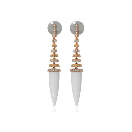 Crivelli 18k Rose Gold Diamond + Agate Drop Earrings