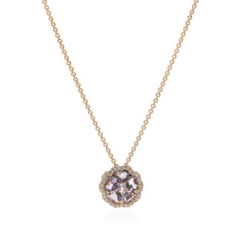 Crivelli 18k Yellow Gold Diamond + Amethyst Flower Necklace