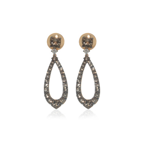 Crivelli 18k Rose Gold Diamond + Quartz Drop Earrings