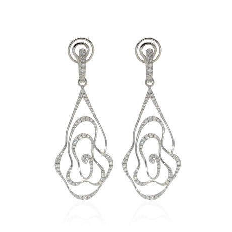 Crivelli 18k White Gold Diamond Drop Earrings I