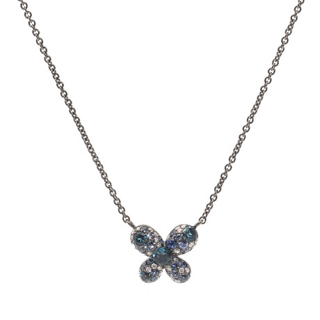 Crivelli 18k White Gold Diamond + Sapphire Butterfly Necklace