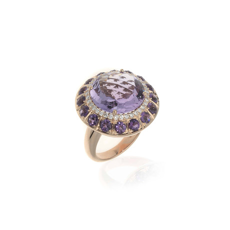 Crivelli 18k Rose Gold Diamond + Amethyst Ring // Ring Size: 6.5