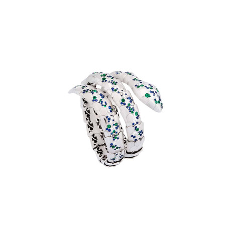 Crivelli 18k White Gold Diamond + Emerald Bracelet