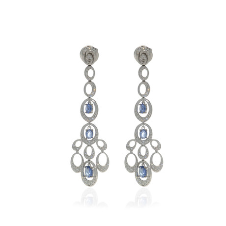 Crivelli 18k White Gold Diamond + Sapphire Drop Earrings