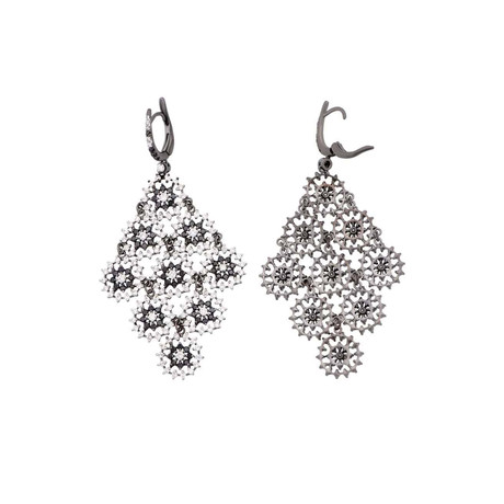 Crivelli 18k White Gold Diamond + Black Diamond Earrings II
