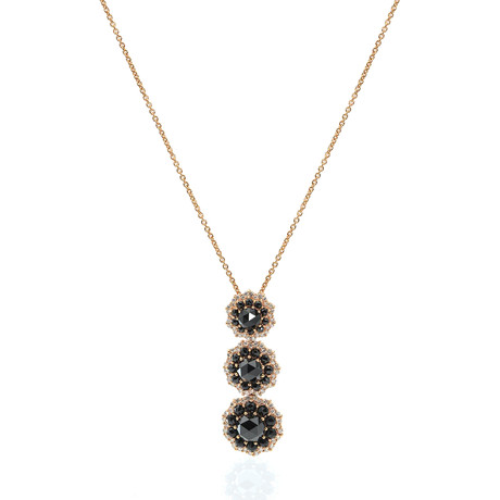 Crivelli 18k Yellow Gold Diamond + Onyx Pendant Necklace