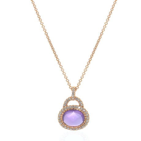Crivelli 18k Yellow Gold Diamond + Amethyst Cocktail Necklace