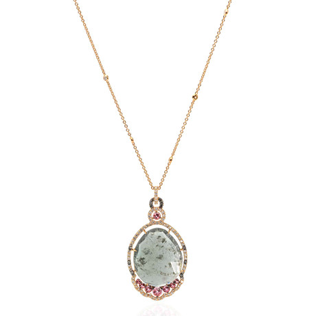 Crivelli 18k Rose Gold Diamond + Quartz Cocktail Necklace