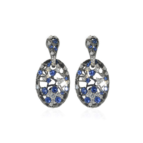 Crivelli 18k White Gold Diamond + Sapphire Statement Earrings