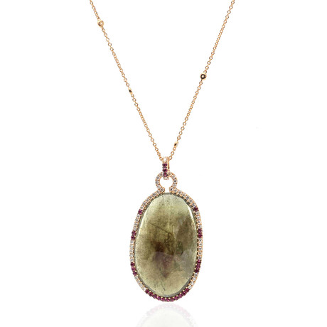Crivelli 18k Yellow Gold Diamond + Ruby Necklace