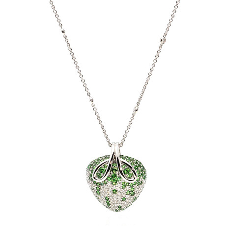 Crivelli 18k White Gold Diamond + Tourmaline Necklace