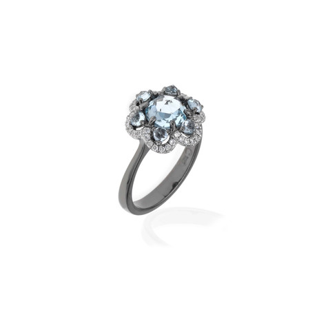 Crivelli 18k White Gold Diamond + Topaz Ring // Ring Size: 6.75