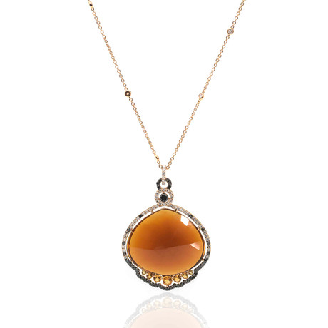 Crivelli 18k Yellow Gold Diamond + Citrine Cocktail Necklace