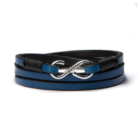 Blue Leather Strap // Handmade Sterling Clasp (Small)