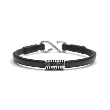 Black Leather Strap // Handmade Sterling Coil (Small)
