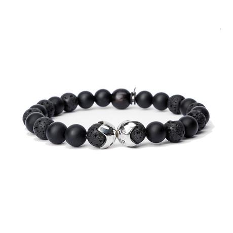 Lava Bead Shields Bracelet // Black + Silver (Small)