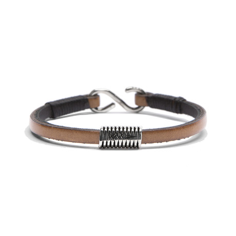 Tan Leather Strap // Handmade Sterling Coil (Small)