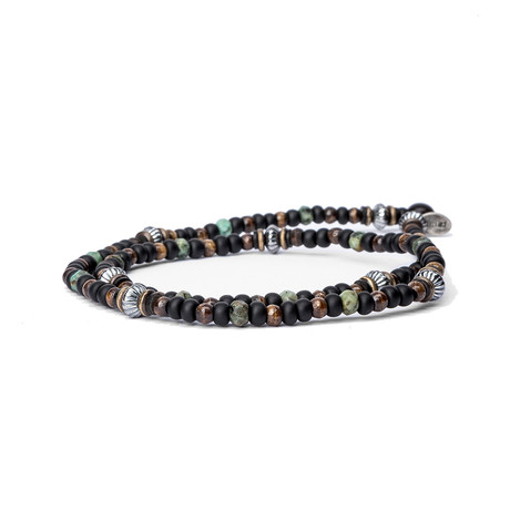 Black Czech Glass // Turquoise // Sterling (Small)
