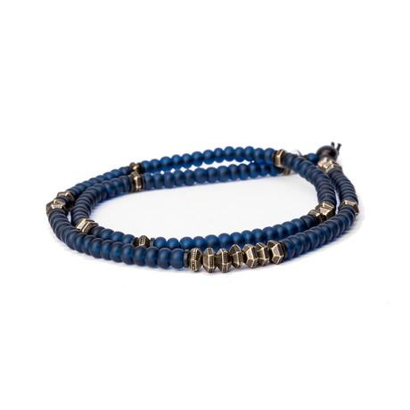 Czech Glass Bracelet // Navy + Brass (Small)