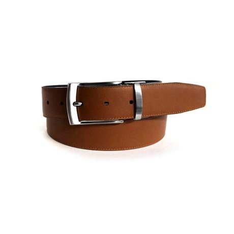 Adam Lizard Reversible Belt // Black + Tan (32)