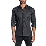 Jared Lang // Geometric Long-Sleeve Shirt // Dark Gray + Green (S)
