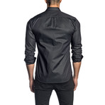 Jared Lang // Geometric Long-Sleeve Shirt // Dark Gray + Green (XS)
