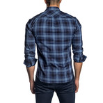 Long Sleeve Shirt // Blue Plaid (L)