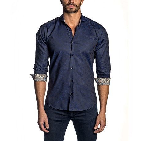 Paisley Jacquard Long-Sleeve Shirt // Navy (XS)