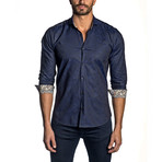 Paisley Jacquard Long-Sleeve Shirt // Navy (L)