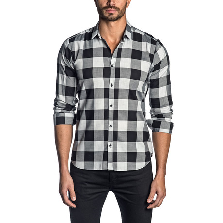 Long Sleeve Shirt // Gray + Black Check (XS)