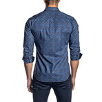 Micro Paisley Long-Sleeve Shirt // Navy + White (XL)