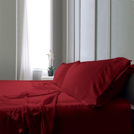 Bamboo Field Bedsheets // Burgundy (Twin XL)