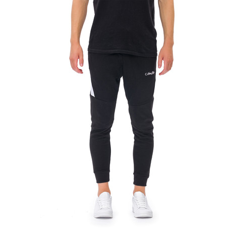 Fletcher Embroidered Joggers // Black (Small)