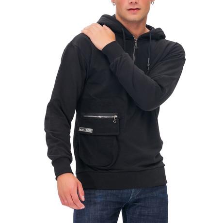 Kian Half Zip Hoodie // Black (Small)