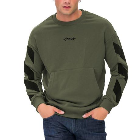 Harrison Printed Crew Neck Sweatshirt // Green (Small)
