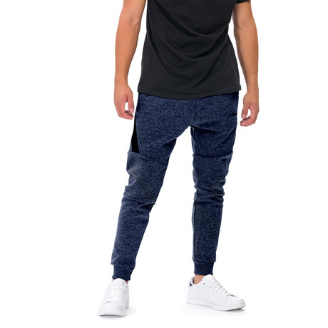 Harold Embroidered Joggers // Dark Blue (Small)
