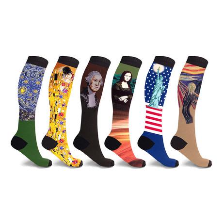 Famous Art Paintings Compression Socks // 6-Pairs (Small / Medium)