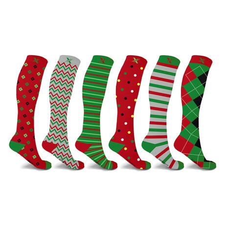 Holiday Knee High Compression Socks // 6-Pairs (Small / Medium)